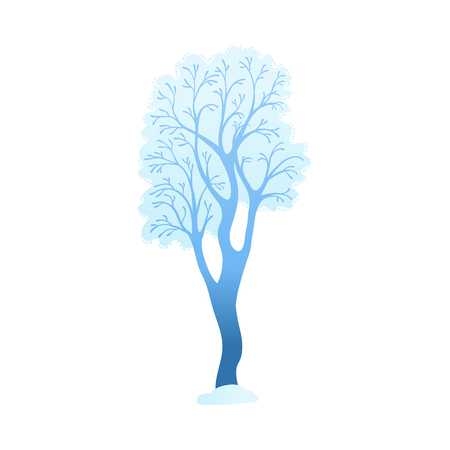 Snowy tree vector illustration - winter decorative element for seasonal natural design in flat style. Forest or park plant covered with snow isolated on white background. Ilustrace