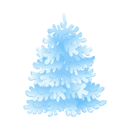 Snowy fir-tree vector illustration for seasonal natural design in flat style - winter decorative element of forest or park spruce covered with snow isolated on white background. Illustration