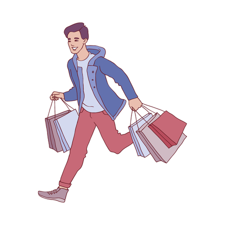 Vector sketch man in winter outdoor clothing running holding shopping bags with purchases made during seasonal store clearance and discounts. Male character with goods for christmas, new year