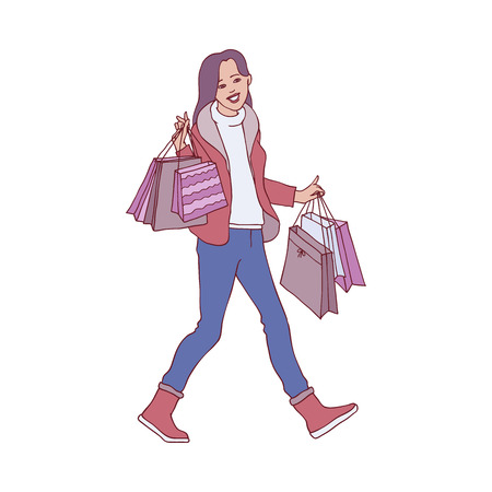 Vector sketch woman in winter outdoor clothing running holding shopping bags with purchases made during christmas store clearance and discounts. Female character with goods. Vector illustration  イラスト・ベクター素材