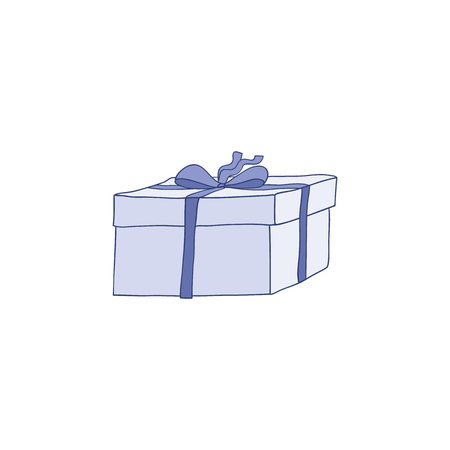 Present box vector illustration - blue cardboard gift package decorated with ribbon and bow in sketch style. Hand drawn close pack ready to be given for holiday and promotional design.  イラスト・ベクター素材