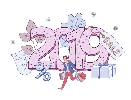 Vector illustration of 2019 New Year and Christmas holiday sales banner with man holding shopping bags and running in sketch style isolated on white background with big number and discount label. Illustration