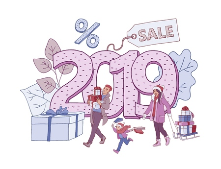 Vector illustration of 2019 New Year and Christmas holiday discounts banner with people holding shopping bags and gift boxes in sketch style isolated on white background with number and sale label. 矢量图像