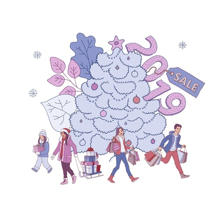 Vector illustration of Christmas and New Year sales banner with big decorated fir-tree and people with gift boxes and shopping bags in sketch style isolated on white background.