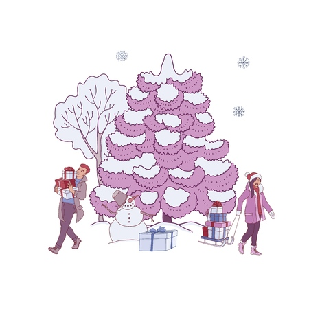 Vector illustration of winter holiday banner with snowman near snowy trees and people with gift boxes in sketch style isolated on white background for congratulation or promotion design.  イラスト・ベクター素材