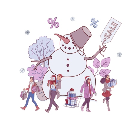 Vector illustration of Christmas and New Year holiday discounts banner with big snowman holding sale label and people with gift boxes and shopping bags in sketch style isolated on white background.