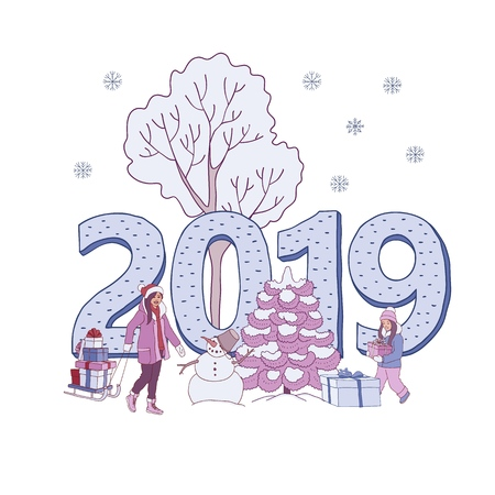 Vector illustration of 2019 New Year and Christmas banner with woman and girl carrying wrapped gift boxes isolated on white background with snowman near snowy trees and big number in sketch style.