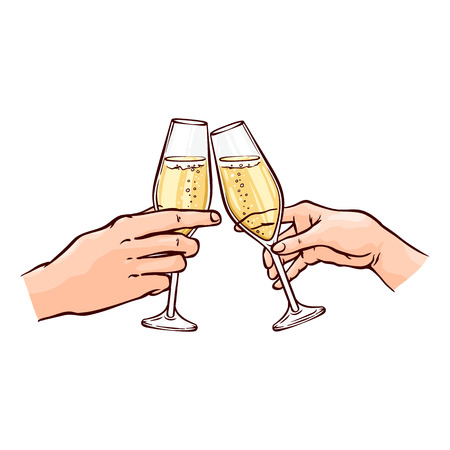 Vector illustration of hands with champagne in wineglasses in sketch style - hand drawn male and female wrists holding glasses of golden fizzy alcohol drink and clinking isolated on white background.
