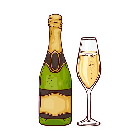 Illustrazione vettoriale di champagne in bottiglia stretta e bicchiere di vino nello stile di abbozzo - bevanda frizzante dorata festiva disegnata a mano isolata su priorità bassa bianca per la carta di congratulazioni o invito.