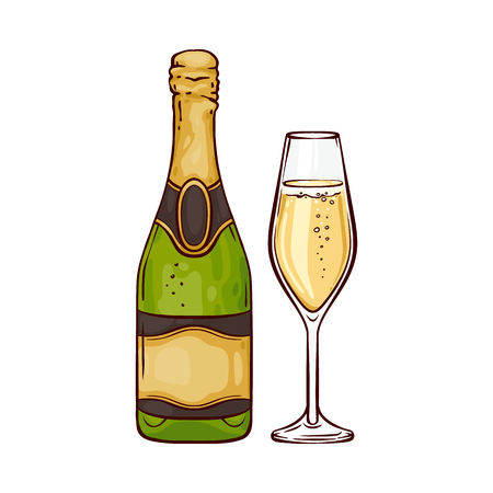 Vector illustration of champagne in close bottle and wineglass in sketch style - hand drawn festive golden fizzy drink isolated on white background for congratulation or invitation card.