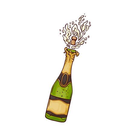 Illustrazione vettoriale di bottiglia di champagne con popping sughero ed esplosione di bevanda gassata alcol dorata nello stile di abbozzo isolato su priorità bassa bianca per la carta di congratulazioni o invito. Vettoriali