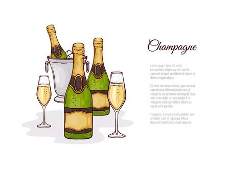 Illustration vectorielle de champagne dans le style de croquis - bouteille fermée et ouverte dessinée à la main de bulles dans un seau à glace et deux verres à vin avec une boisson alcoolisée pétillante dorée isolée sur fond blanc.