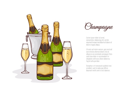Vector illustration of champagne in sketch style - hand drawn close and open bottle of bubbly in ice bucket and two wineglasses with golden fizzy alcohol drink isolated on white background.