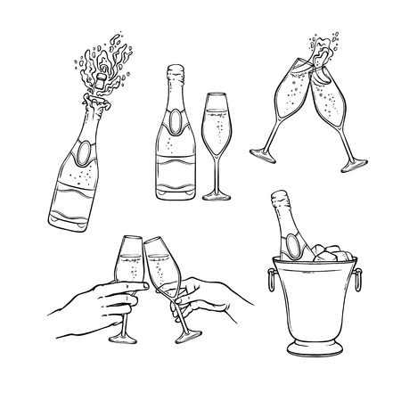 Insieme dell'illustrazione di vettore di champagne nello stile di schizzo in bianco e nero - isolato varie bottiglie disegnate a mano e bicchieri di vino con bevanda alcolica frizzante per la festa o la festa. Vettoriali