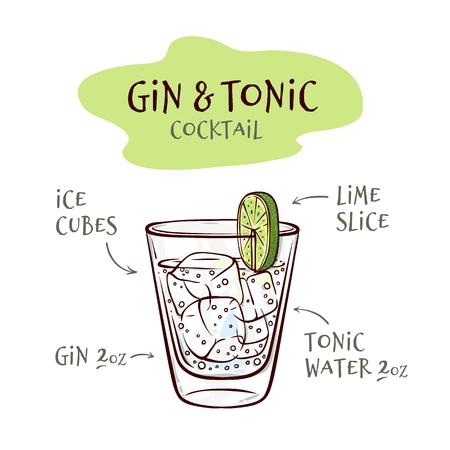 Ilustración de vector de receta de cóctel de gin tonic con proporciones de ingredientes en el estilo de dibujo - vidrio dibujado a mano con cubitos de hielo y bebida alcohólica aislada sobre fondo blanco.