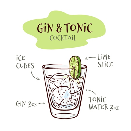Vector illustration of gin and tonic cocktail recipe with proportions of ingredients in sketch style - hand drawn glass with ice cubes and alcohol drink isolated on white background. Vectores