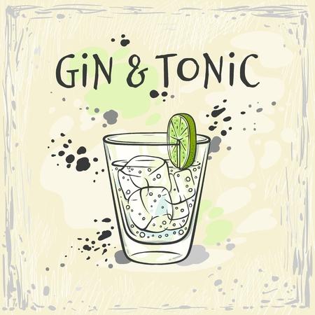 Ilustración de vector de cóctel de gin tonic en vaso con cubitos de hielo y rodaja de limón verde fresco en el estilo de dibujo - bebida alcohólica refrescante dibujada a mano sobre fondo de colores.