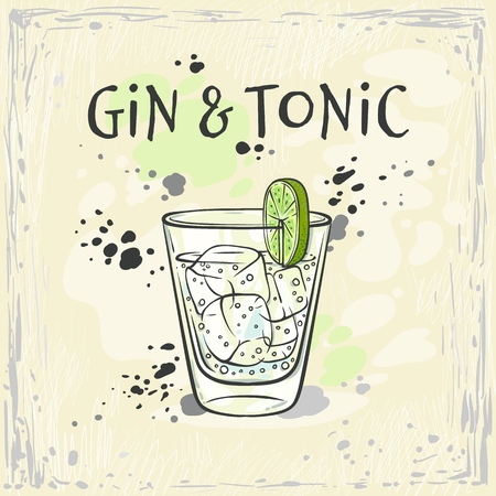 Vector illustration of gin and tonic cocktail in glass with ice cubes and slice of green fresh lime in sketch style - hand drawn refreshing alcoholic drink on colorful background. Vectores