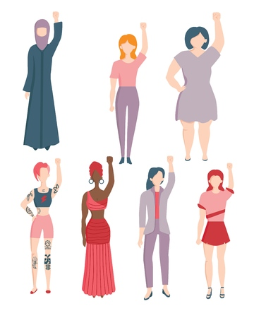 Vector caucasian, indian, arabic young women in ethnic and casual clothing raising hand in fist up in female rights, feminism and protest. Female character againts gender discrimination, racism