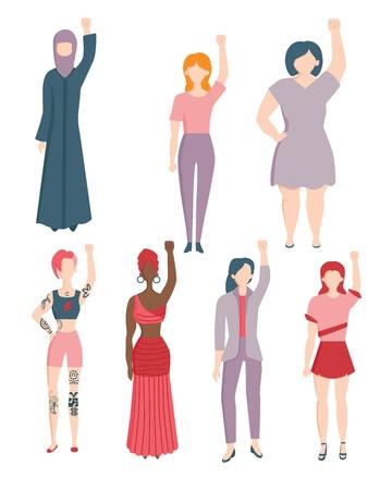 Vector mujeres jóvenes caucásicas, indias, árabes en ropa étnica y casual levantando la mano en puño hacia los derechos de la mujer, el feminismo y la protesta Personaje femenino contra la discriminación de género, el racismo