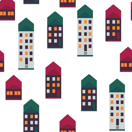 City houses vector illustration seamless pattern with cute multi storey houses with light in windows and colorful roofs on white background - urban backdrop with high-rise buildings.