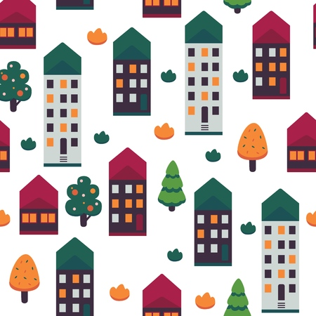 Vector illustration of autumn city seamless pattern on white background - multi storey apartment buildings with light in windows and colorful roofs on street with color trees and bushes.