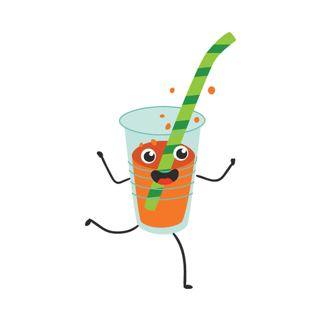 Vector illustration of fizzy soda in plastic cup with straw cartoon character - cute happy emoticon of energy drink running and having fun in flat style isolated on white background.
