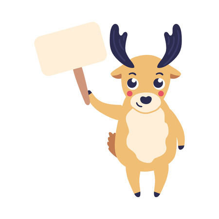 Vector illustration of cartoon reindeer holding blank nameplate in one hand up isolated on white background - cute horned animal with plate can be used for copy space in flat style.