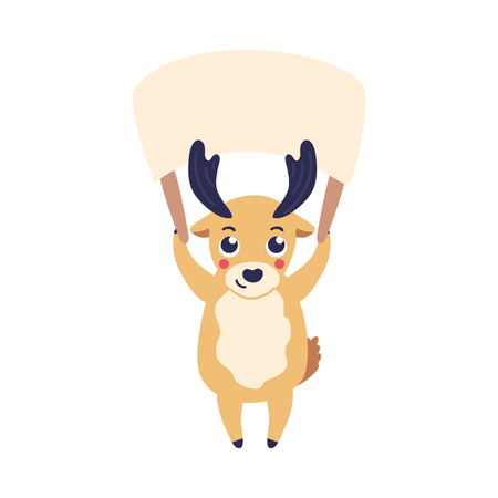 Vector illustration of cartoon reindeer holding blank nameplate with two hands over his head isolated on white background - cute horned animal with empty plate in flat style. Ilustração