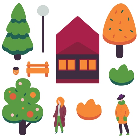 Vector autumn city design objects set. Female characters in outdoor clothing - coats, orange foliage tree, spruce, fir tree and abstract fruit tree, private house, bench with streetlight and bush.
