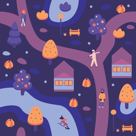 Vector illustration of autumn halloween city landscape with people wearing holiday costumes walking on street among private houses and trees on dark blue night background in flat style. Illustration