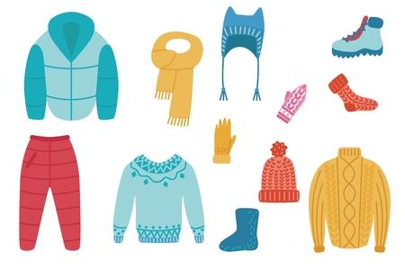 Vector plano clima frío - conjunto de ropa de abrigo de invierno u otoño. Ocio activo masculino, femenino, ropa de actividad deportiva al aire libre. Sombrero, chaqueta, pantalón, botas, calcetines, suéter o pulóver y manoplas. Ilustración de vector
