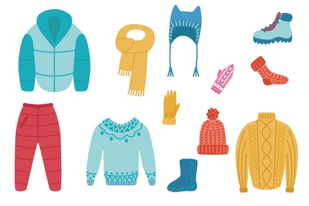 Vector plat koud weer - winter of herfst warme kleding set. Mannelijke, vrouwelijke actieve vrije tijd, buitensport activiteit kleding. Muts, jas broek laarzen, sokken trui of pullover en wanten Vector Illustratie