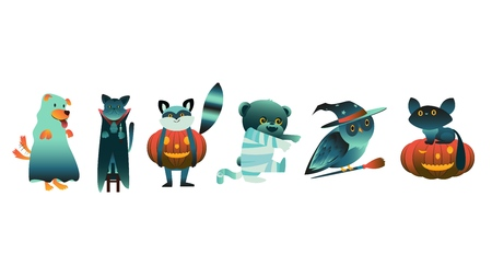 Cartoon halloween animal characters in spooky costumes set. Black witch catstanding on, scary pumpkin jack'o lanterns, owl on broom, raccoon, dog like ghost. Halloween holiday trick or treat Vector