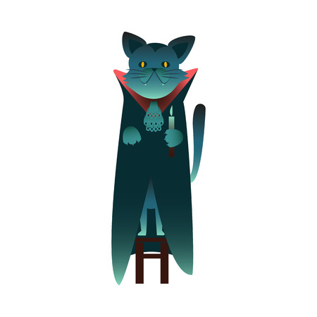 Cartoon spooky black witch cat with devil eyes standing in cape holding candle Halloween holiday symbol, trick or treat traditional autumn horror kids celebration. Vector illustration Archivio Fotografico - 128169551