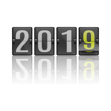 Vector illustration of 2019 new year banner layout with dark flip mechanical timetable with numerals in movement - symbol of coming holiday in realistic style on black background.
