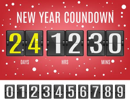 Illustration vectorielle de compte à rebours du nouvel an avec calendrier mécanique à bascule avec chiffres comptant jusqu'au début des vacances sur fond rouge avec des flocons de neige dans un style réaliste.