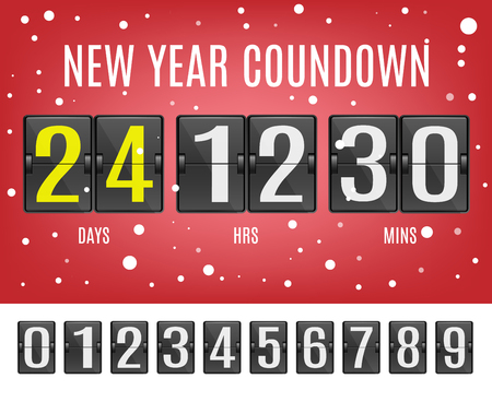 New Year countdown vector illustration set with flip mechanical timetable with digits counting to beginning of holiday on red background with snowflakes in realistic style. Illustration