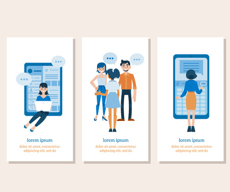 Vector social communication banners set with young women and man in casual clothing talking to each other gesticulating with empty speech bubble, girl typing at laptop, standing near smartphone