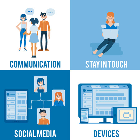 Vector social communication, media, devices banners set with young women and man in casual clothing talking to each other with empty speech bubble, girl typing at laptop, network with user profiles