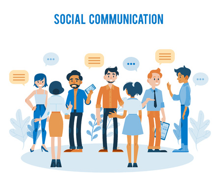 Vector social communication concept with young men, women colleagues, friends or students talking to each other gesticulating with empty speech bubble above head holding clipboards, smartphones Иллюстрация