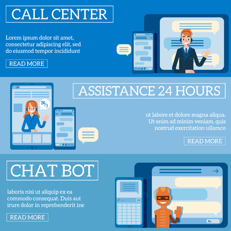 Vector hotline support poster set, online female and male assistant in headset showing okey gesture from screen. Customer support woman, man call center, cheerful chat bot waving hand