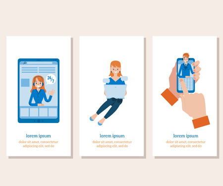 Vector hotline support poster set, online female and male assistant in headset showing okey gesture from smartphone screen. Customer support woman, man in call center, girl typing at laptop