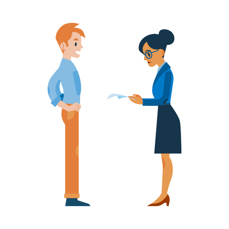 Vector female human resourses manager reading applicant resume, cv while male candidate standing waiting. Career, job and employment concept with business woman and man.