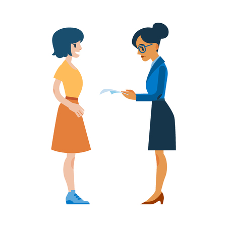 Vector female human resourses manager reading applicant resume, cv while young girl candidate standing waiting. Career, job and employment concept with business women. Illustration