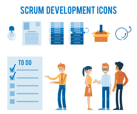 Vector software development concept icons set. Huge scrumboard with adhesive sticks with daily to do tasks. Agile methodology, kanban taskboard. Men, women brainstorming, communicating light bulb
