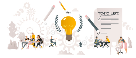 Vector illustration of coworking communication horizontal banner in cartoon style isolated on white background. Business people working together and discussing common idea around big light bulb.