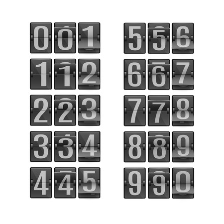 Vector illustration set of digits on black flip mechanical timetable in different positions for design with timer or countdown in realistic style isolated on white background.