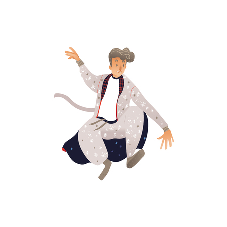 Vector illustration of young man in warm winter home clothes jumping with happiness and fun isolated on white background. Male cartoon character in pajama and bathrobe with seasonal patterns. Illustration