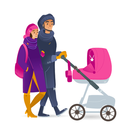 Vector cartoon young couple walking at winter with baby stroller. Adult mother, father together outdoors at cold weather in warm clolthing with newborn baby in pram.